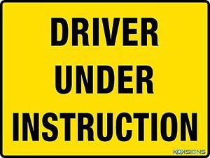 driver under instruction plates size
