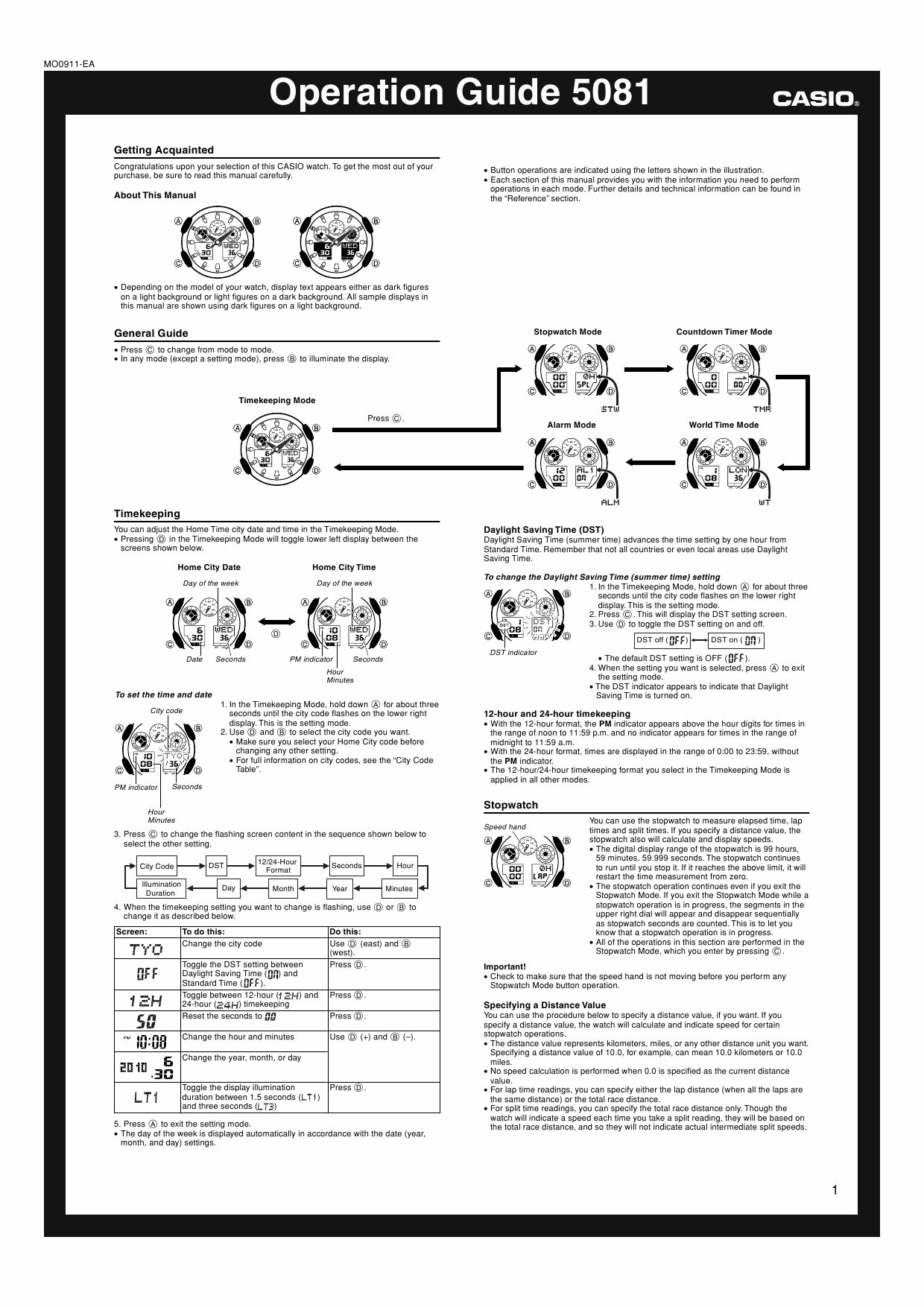 instructions for g shock gw-500a