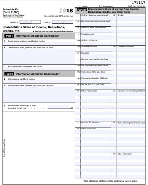 1120s schedule k instructions
