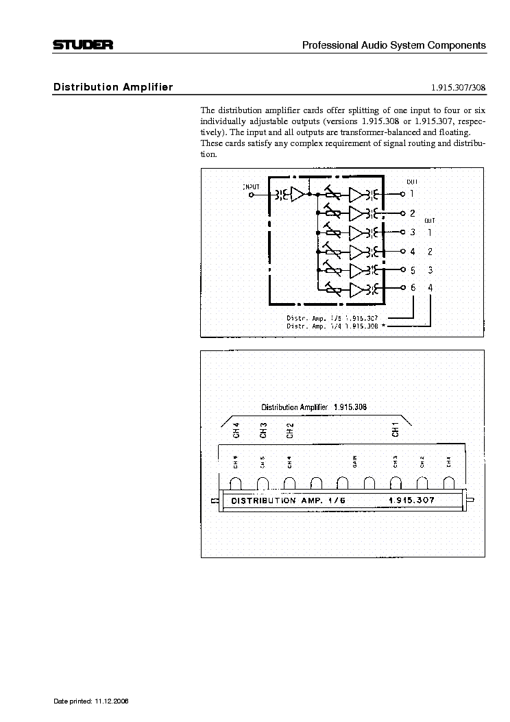digimatch amplifier distribution instructions