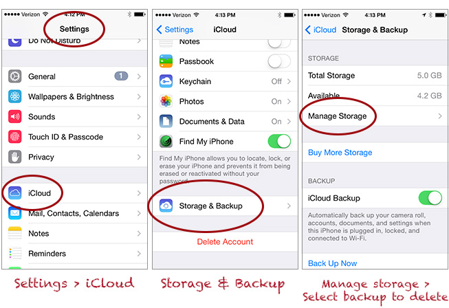 instructions how to do icloud back up iphone 7