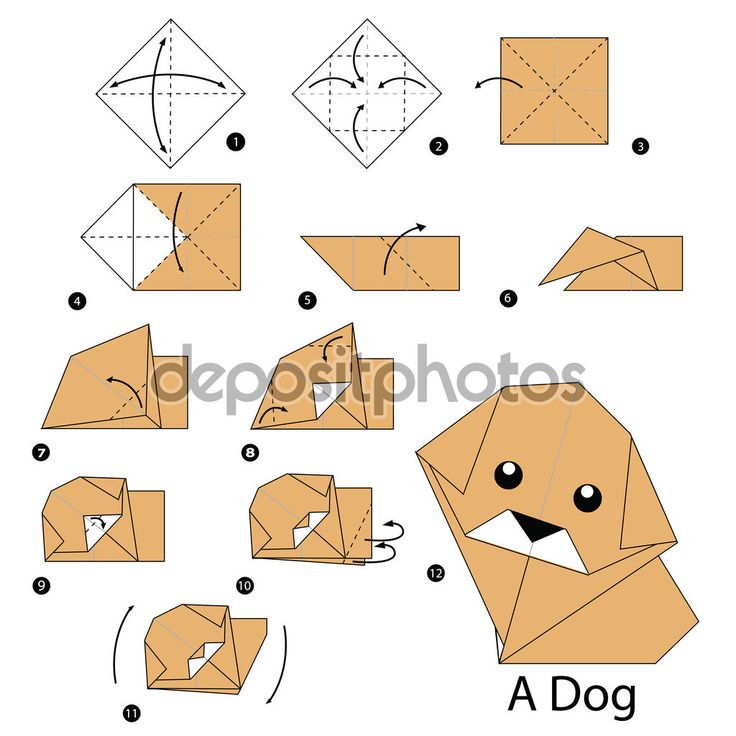 step by step instructions for origami dog