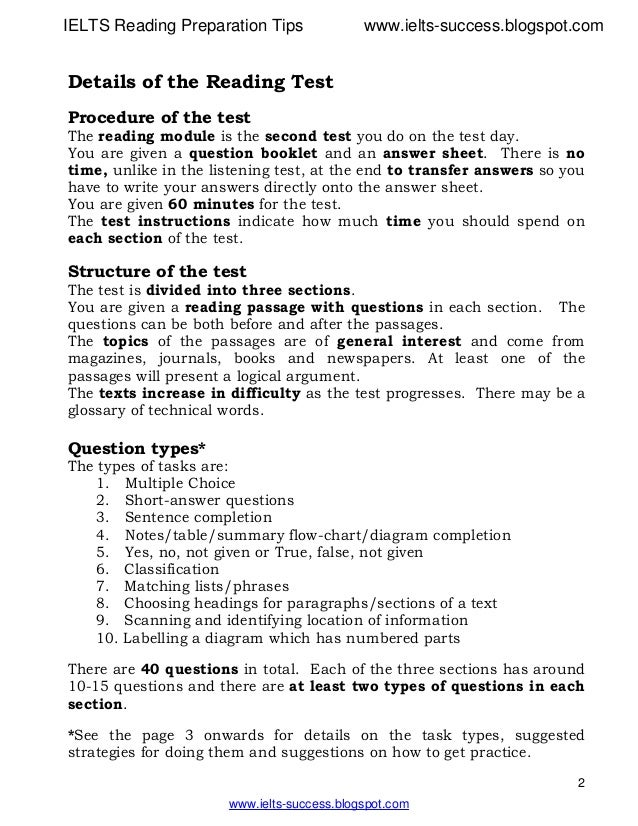 ielts reading heading instructions