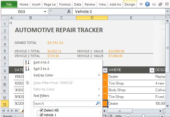 business motor vehicle expenses type 2011 itr instructions