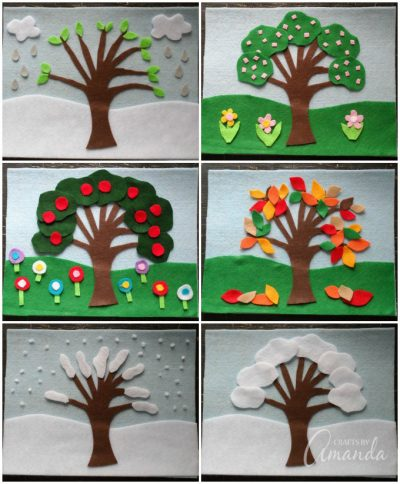 instructions for a nature tree collage