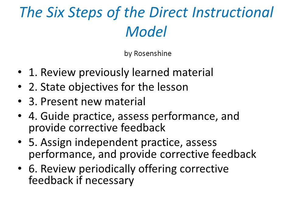 steps of direct instruction lesson